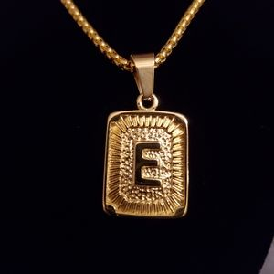"""New Gold Plated Initial """"E"""" Box Chain Necklace"""